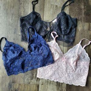 Victorias secret lace bralette bundle m